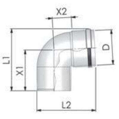 Tricox PPs könyök 80mm, 87°