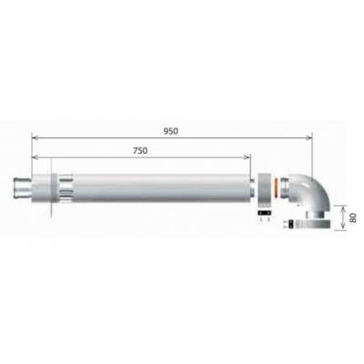 Ariston LAS B32-es elvezető készlet, alu/pp, Ø60/100 mm