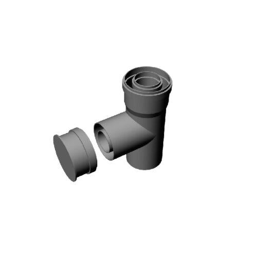 Ricom Gas PPS/Alu 60/100-as egyenes T-idom vizsgálónyílással