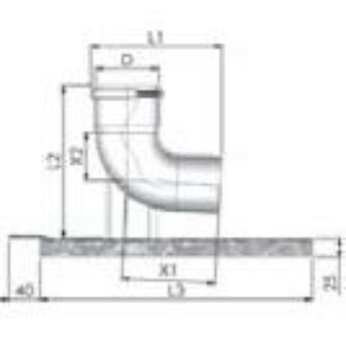 Tricox PPs bekötő könyök 80mm tartó sínnel