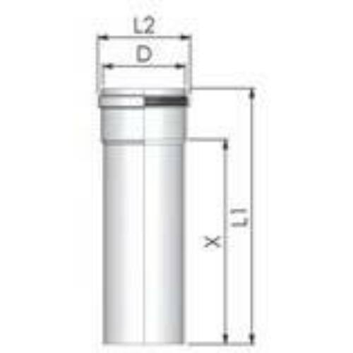 Tricox PPs cső 160 mm, hossz 1000 mm