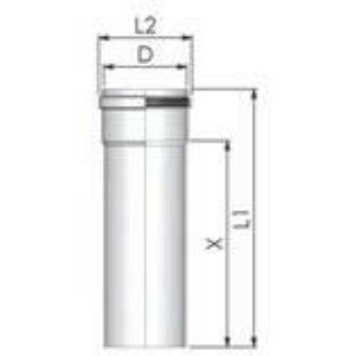 Tricox PPs cső 200 mm, hossz 500 mm