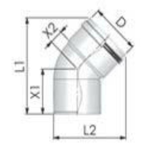 Tricox PPs könyök 200 mm, 45°
