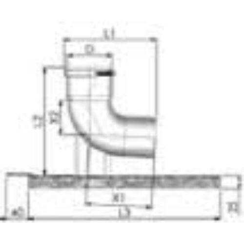 Tricox PPs/Alu bekötő könyök 80/125mm tartó sínnel