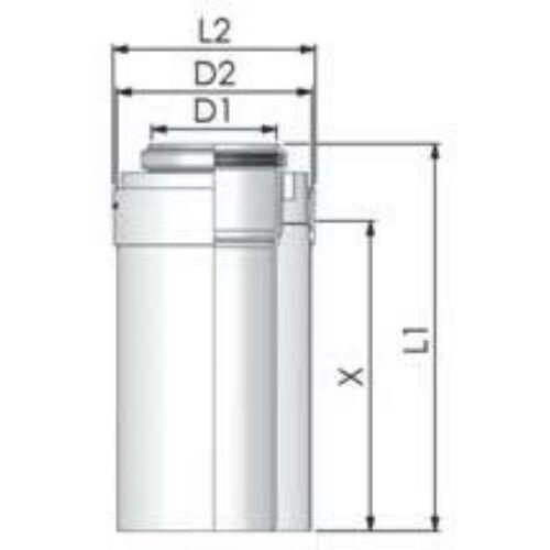 Tricox PPs/Alu cső 110/160mm, hossz 500mm