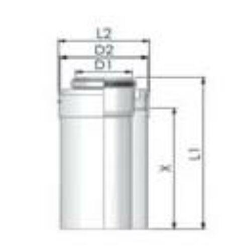 Tricox PPs/Alu cső 60/100mm, hossz 1000mm