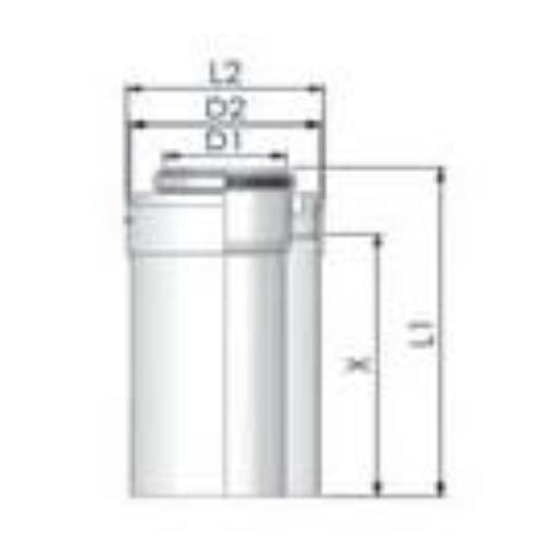 Viessmann PPs/Alu cső 60/100mm, hossz 1000mm