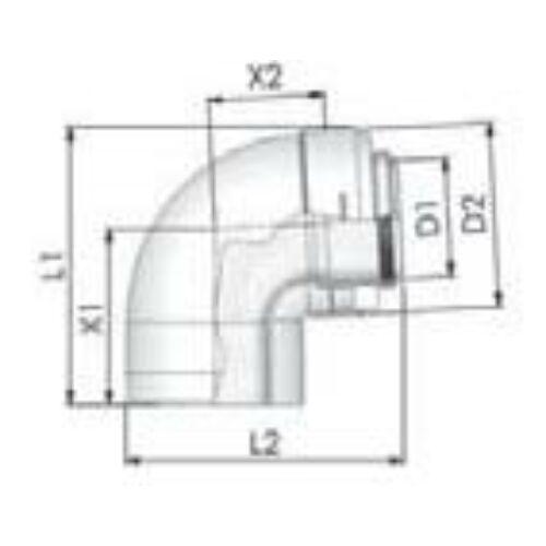 Tricox PPs/Alu könyök 110/160mm, 87°